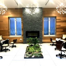 bling garden and fireplace